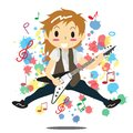 Young boy playing electric rock guitar Happy Love music Royalty Free Stock Photo