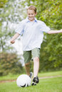 Young boy playing soccer Royalty Free Stock Photo
