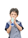 Young boy playing trumpet toy Royalty Free Stock Photo