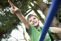 Young boy pointing away on monkey bars sitting and in the backyard Royalty Free Stock Photography
