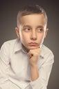 Young boy portrait. Serious boy. Royalty Free Stock Photo