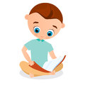 Young boy reading a book sitting on the floor. Vector illustration eps 10. Flat cartoon style.