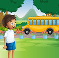 A young boy ready for school illustration of Royalty Free Stock Photo