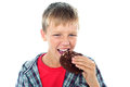 Young boy relishing yummy chocolate cookie Royalty Free Stock Photos