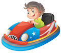 A young boy riding a bumper car illustration of on white background Stock Image