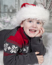 image photo : Young boy in Santa hat