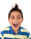 Young boy screaming portrait of a Royalty Free Stock Photo