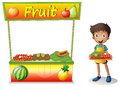 A young boy selling fruits illustration of on white background Royalty Free Stock Images