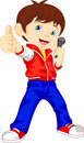 Young boy singer thumb up