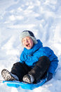 Young boy with sled Royalty Free Stock Images