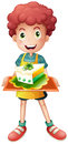 A young boy with a slice of cake illustration on white background Royalty Free Stock Photography