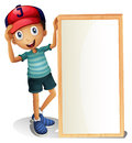 A young boy standing beside an empty signboard illustration of on white background Royalty Free Stock Photo