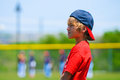 Boy standing on baseball field Royalty Free Stock Photo