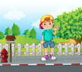 A young boy standing at the streetside near the wooden mailbox illustration of Royalty Free Stock Photo