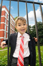 Young boy in the suit Stock Photos