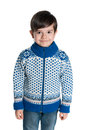 Young boy in the sweater a a on white background Stock Photography