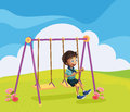 A young boy swinging illustration of Stock Photography