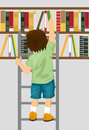 Young boy taking book from shelf with ladder in library Royalty Free Stock Photo