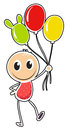 A young boy with three balloons illustration of on white background Royalty Free Stock Images