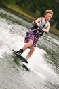 Young Boy on Trick Skis Royalty Free Stock Photo
