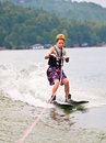 Young Boy on Trick Skis/Vertical Royalty Free Stock Photo