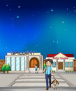 A young boy walking with his dog illustration of Royalty Free Stock Images