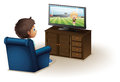 A young boy watching a television illustration of on white background Royalty Free Stock Image