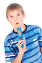 Young boy with water pistol Stock Image