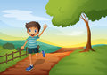 A young boy waving his hand while running illustration of Stock Image