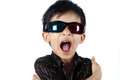 Young Boy Wearing 3d Glasses Royalty Free Stock Photos