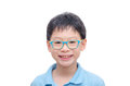 Young boy wearing glasses smiling Royalty Free Stock Photo