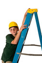 Young boy wearing hard hat leaning ladder sweat beads can be seen his face hard construction work has been doing isolated white Stock Photography