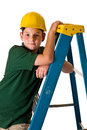 Young boy wearing hard hat leaning ladder sweat beads can be seen his face hard construction work has been doing isolated white Stock Images