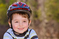 Young boy wearing safety helmet Stock Photo