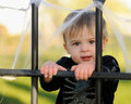Young boy by webbed gate Royalty Free Stock Photography