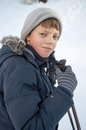 Young boy winter walking in mountains hiking Royalty Free Stock Photography