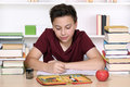 Young boy writing his homework at school Royalty Free Stock Photo