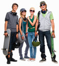 Young boys and girls standing with skateboard Royalty Free Stock Photography