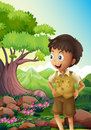 A young boyscout in the forest illustration of Royalty Free Stock Image