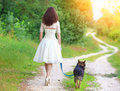 Young bride with dog Royalty Free Stock Photo