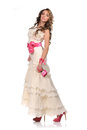 Young bride dressed in white wedding dress Stock Photos