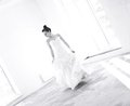 Young bride on the empty room dance black and white Stock Images