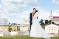 Young bride and groom kissing on a hill Stock Photography