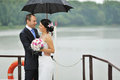 Young bride and groom in a rainy day happy Stock Images