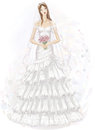 Young bride illustration of beautiful girl in wedding dress Royalty Free Stock Images