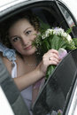 Young bride in a limousine Royalty Free Stock Photos