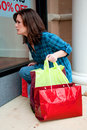 Young Brunette Female Shopping Stock Images