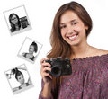 Young brunette girl with a camera Royalty Free Stock Photography