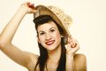 Young brunette girl in hat retro styling portrait pin up summer happy studio shot Royalty Free Stock Image