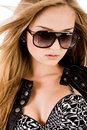 Young brunette model with sunglasses Stock Photos